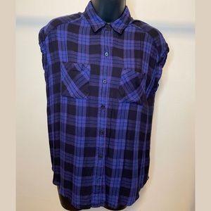 XS Express Plaid Sleeveless Button Down Shirt